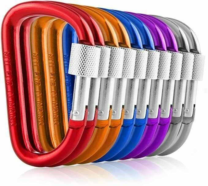 Carabiners Clip Set 10 Multicolor Pack of 3 Inch Locking D R