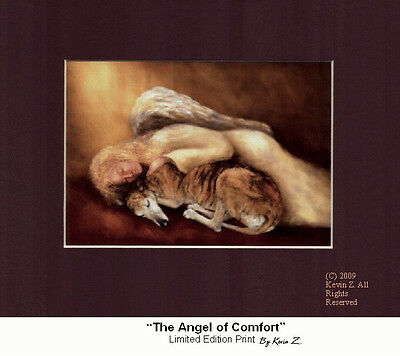 Greyhound Angel of Comfort  Signed Art Print Memorial Artist Kevin Z Arttogo