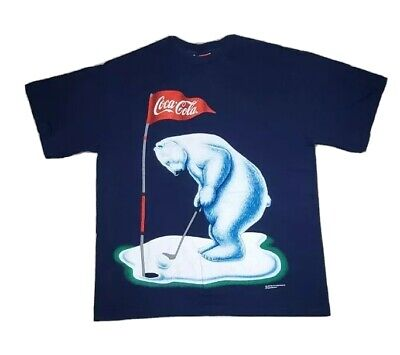 Vintage Coke Coca Cola Polar Bear Golf 1995 Blue T Shirt L USA Single Stitch