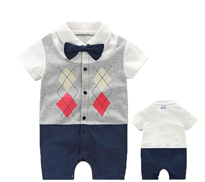 Fairy Baby Newborn Boy Gentleman Bow Tie Romper