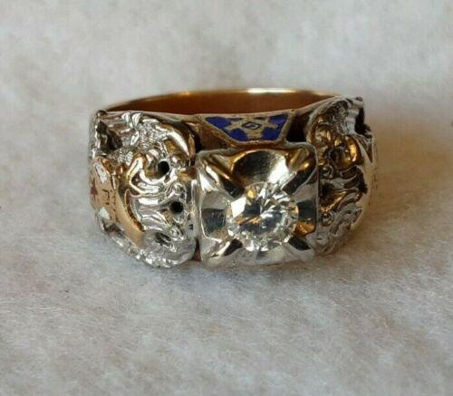Vintage Ornate Shriners/Masonic 10K Gold Ring w/Diamond Size 10 1/2