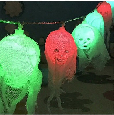 US Colorful Ghost Decoration Lamp Halloween LED Skull String Lights For Party - Halloween Skulls Decoration