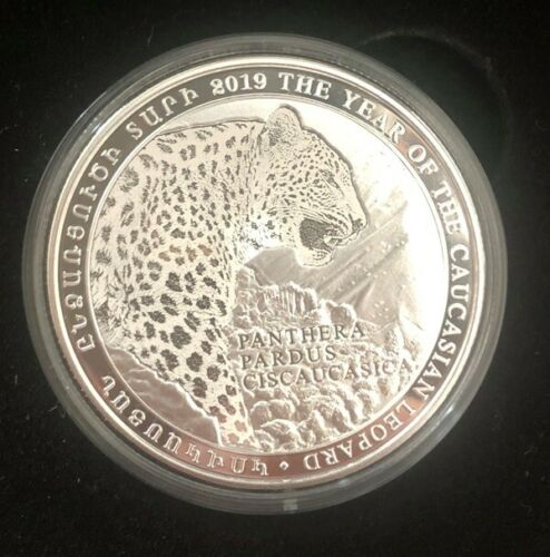 NEW 2019 ARMENIA 1000 DRAM SILVER COIN Year Of Caucasian Leopard PROOF Rare Coin