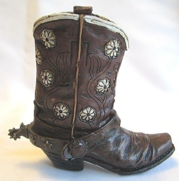 Western Small Ceramic Cowboy Boot Pencil Holder Collectible New (7408B)