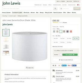 John Lewis 'Samantha' White Linen Drum lampshade 30cm diameter, as new conditiiion