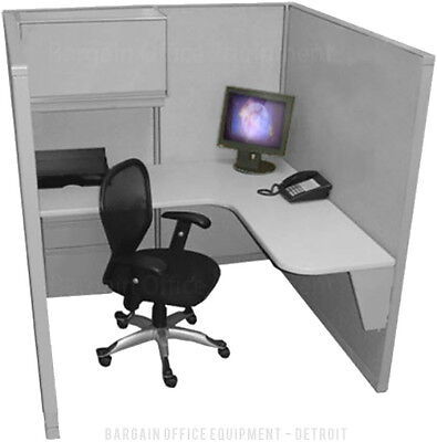 Single - 5x5 - Refurbished Space Saver Office Cubicles - New Paint Fabric