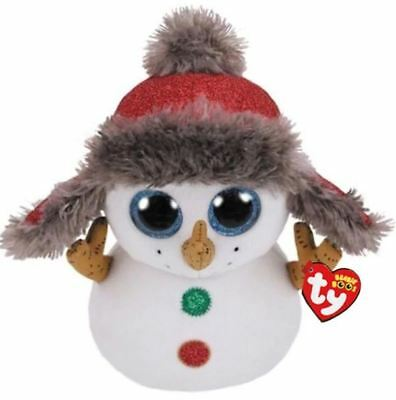 Snowman 6 Ty Beanie Boos Whiskers Puppy Glitter Eyes Plush Stuffed Animals Toy