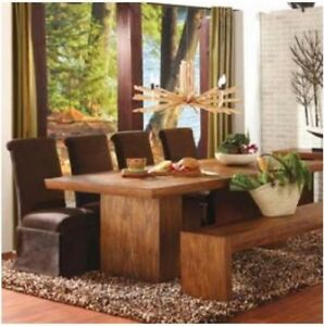 Large teak dining table and matching bench