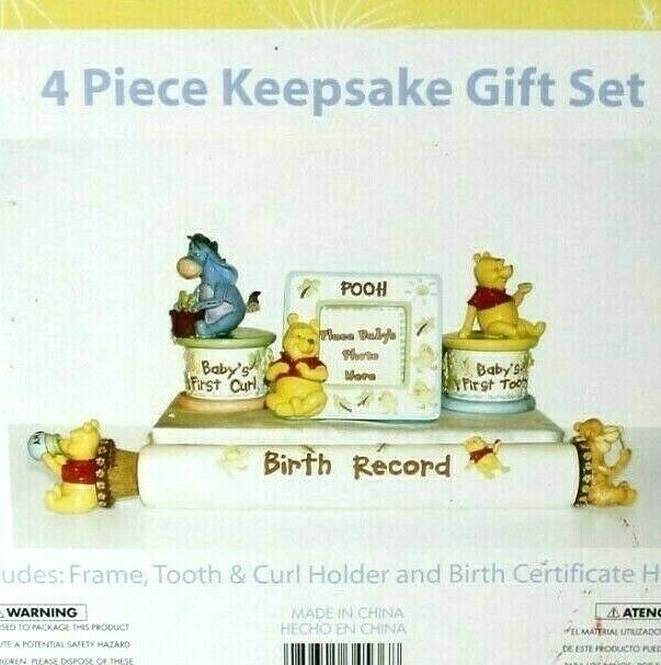 4 Piece WINNIE THE POOH Keepsake GIFT SET, Frame/curl/tooth/birth record Disney
