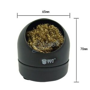 soldering iron tip cleaner brass sponge and holder solder wire spong ball bla. Black Bedroom Furniture Sets. Home Design Ideas
