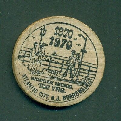 1970 Atlantic City,NJ Boardwalk 100 Yrs. Anniversary Wooden Nickel