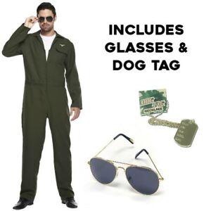 Mens Aviator Costume Fighter Pilot Gun Suit Top Uniform 80s Fancy Dress Outfit