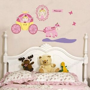 Large-Pink-Princess-Pumpkin-Carriage-Vinyl-Wall-Stickers-Girls-Room-Top-Quality