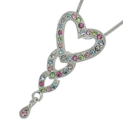 "3 Hearts Pendant Made With Swarovski Crystal Heart Multicolor Necklace 18"" Chain"