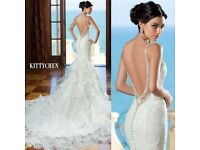 White mermaid wedding dress straps size 6