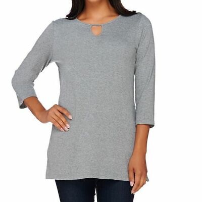 Liz Claiborne New York Size 2X Heather Grey Tunic w/ Keyhole