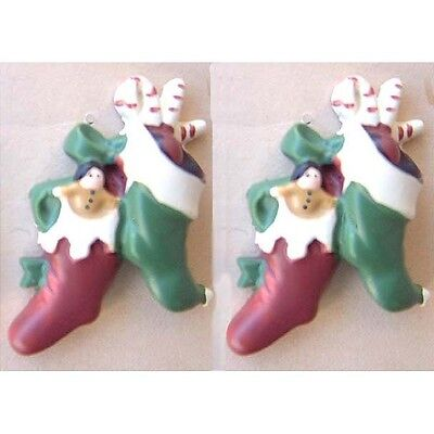 Huge Funky CHRISTMAS STOCKING BUTTON EARRINGS-Victorian Holiday Costume Jewelry ()