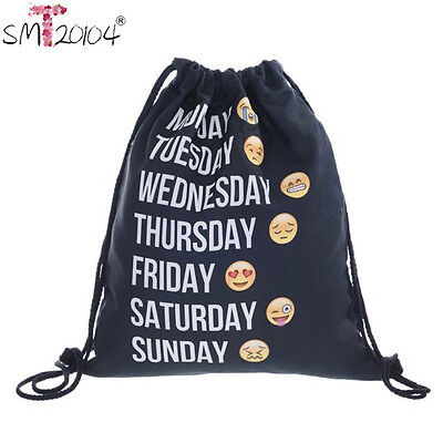 Unisex Girl Boy Emoji Smile Backpacks 3D Print Bags Drawstring Backpack Bookbag