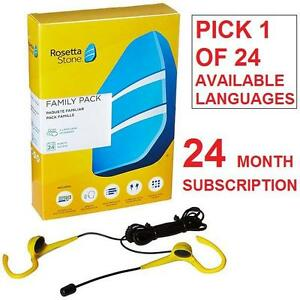 NEW ROSETTA STONE LANGUAGE SOFTWARE SELECT FROM 24 AVAILABLE LANGUAGES - UP TO 3 USERS - 24 MNTH SUBS. EDUCATION
