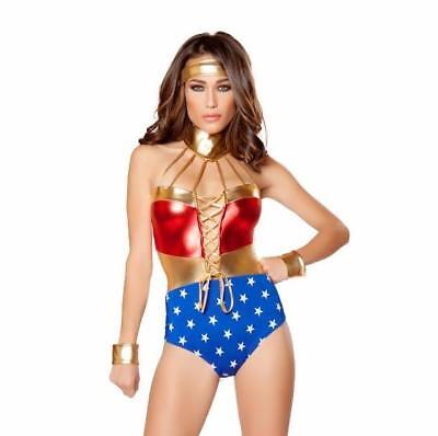 Wonder Woman Costume Metallic Bodysuit Romper Headband Super Hero 10058 - Superhero Bodysuit