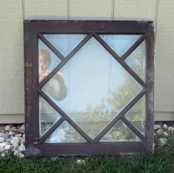 ANTIQUE SQUARE WINDOW - FANCY MOLDINGS - UNIQUE VINTAGE WALL ART