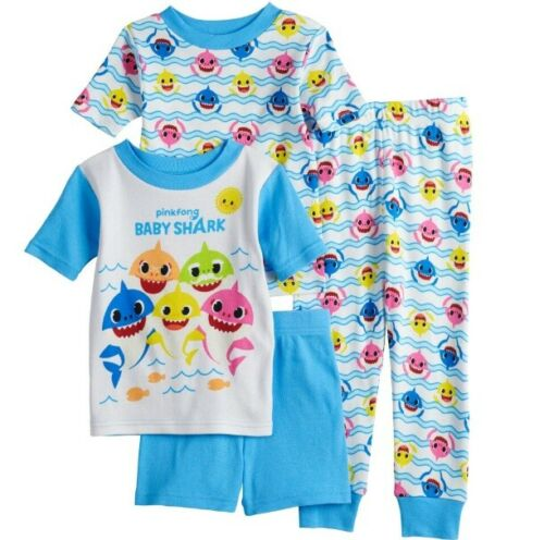 Boys Girls 4 Pc Baby Shark Snug Fit Cotton Pajama Set Tops Shorts Pant 3T NWT