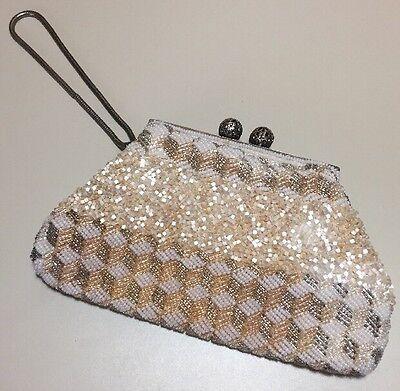 1940s Handbags and Purses History Vintage 1940s Heavily Beaded Clutch Purse $50.00 AT vintagedancer.com