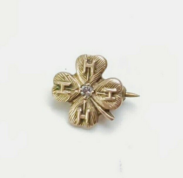 Vintage 4-H Clover Pin 10k Gold with Diamond