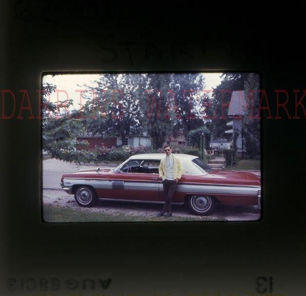 Vintage Car Photo Slide Man w/ 1962 Oldsmobile Starfire Automobile 740021