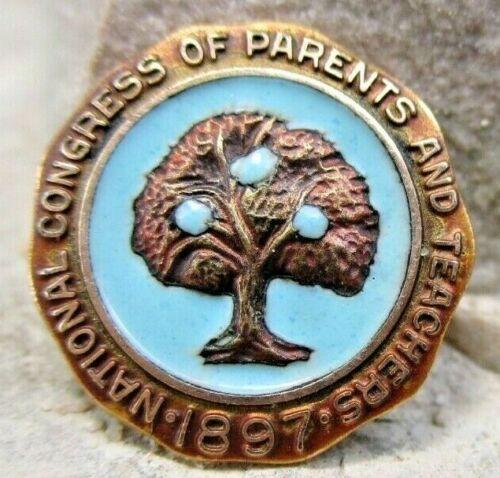 Vintage National Congress of Parents and Teachers 1897 1/20 10KGF Pin Enamel