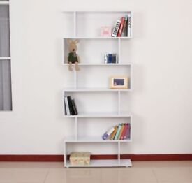 White Wooden S Shape Storage Display - Home Office Furniture