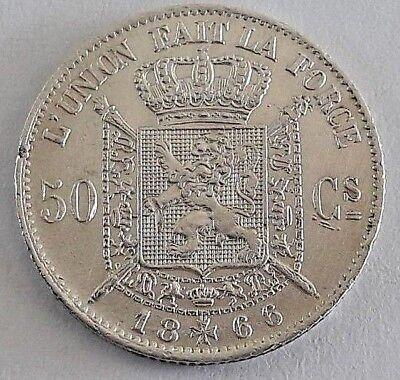 ===>>> 50 centimes 1866 50 cents  Leopold II  Belgique Belgïe FR  SUP <<<===