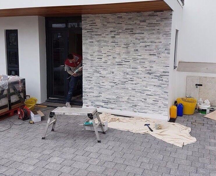 Gris Blanc Quartz Mixte Split Face 3d Mur Parement Carrelage Brillant Sample Ebay