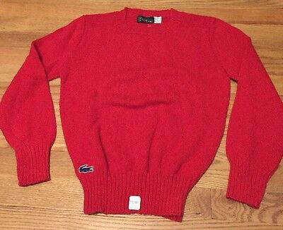 Vintage Izod Lacoste Red Color Pullover Long Sleeves Sweater. Size S Made In USA for sale  Shipping to India