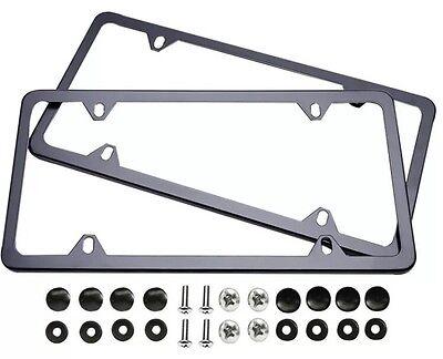 2PCS SLIM BLACK STAINLESS STEEL LICENSE PLATE FRAME SCREW CAP /SLIM 4 HOLE - Cars Plates