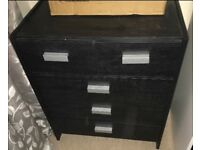 Black and silver drawers