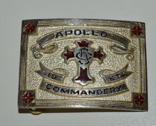 Nice Vintage Knights of Templar APOLLO Commandery Masonic Belt Buckle Rare