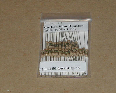 15 Ohm 12 Watt  5 Carbon Film Resistors 35pcs New Stock Usa Seller