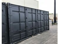 high spec shipping container, black, side opening, refurbished shipping container