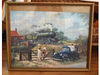 Two framed period jigsaw of steam locomotive (Flying Scotsman), dray lorry etc. Good condition.