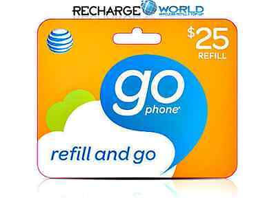AT&T Go phone $25 Refill. FAST REFILL Card Applied DIRECTLY to PHONE