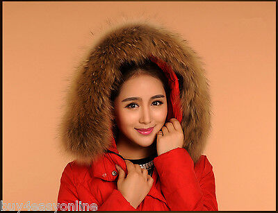 """Real Raccoon Fur Collar Down Jacket Hood Trimming Scarf Brown 70*18cm/28X7"""" US for sale  Shipping to Canada"""