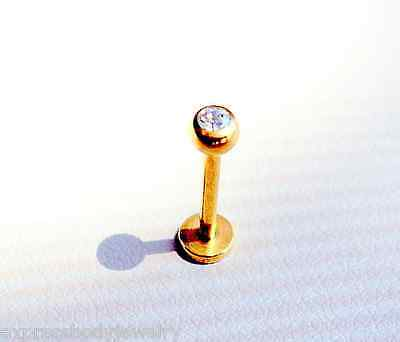 14K Gold Plated CZ Gem Ball Labret 16g 3/8