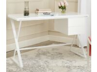 Elegant, contemporary writing DESK with glossy white finish.