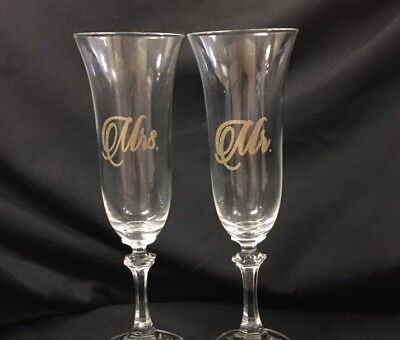 Mr And Mrs Decals For Champagne Flute Or Wine Glass Wedding Day Bridal - Champagne Glasses For Wedding