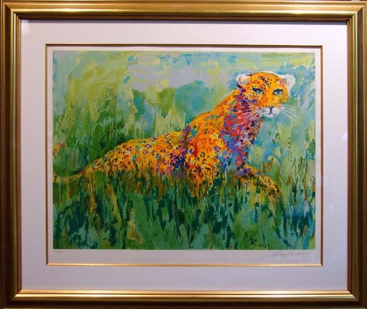 Leroy Neiman Prowling Leopard With New Custom Gold Frame Hand Signed Limited Ed.