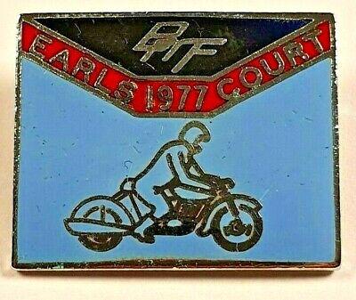 British Motor cyclists Federation Earls Court 1977 Rally Show Enamel Pin Badge