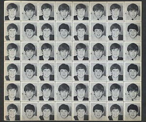 The-Beatles-1964-Black-White-Photo-Stamp-Sheet-FAB-VINTAGE-48-STAMPS-OLD-STOCK