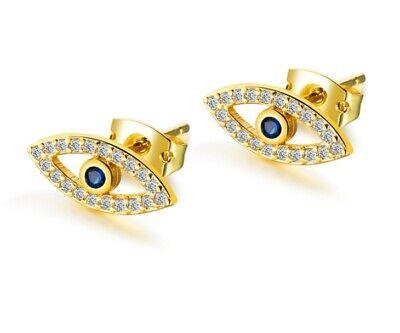 Gold EVIL EYE STUD EARRINGS BLUE WHITE Crystal CZ 925 STERLING SILVER Gift F34 Blue Sterling Silver Earrings