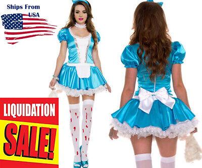 Alice In Wonderland Naughty (Naughty Girl Alice Wonderland Halloween Costume Apron Mini Dress Choker S-XL)